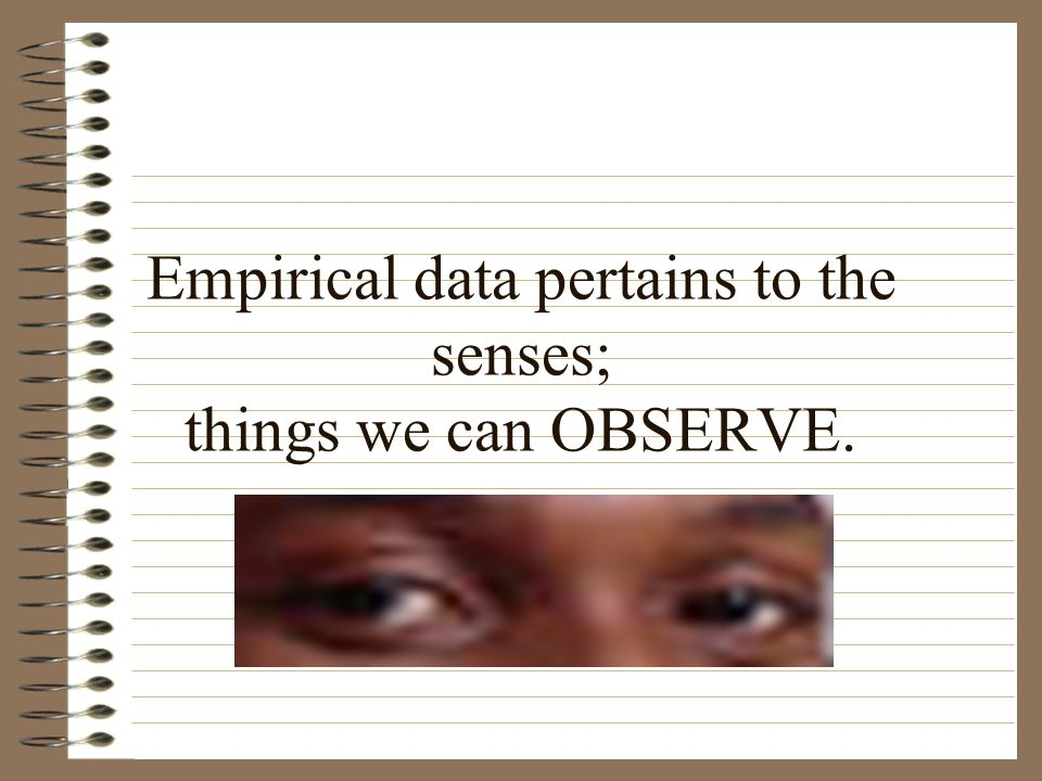 Empirical data pertains to the senses; things we can OBSERVE.