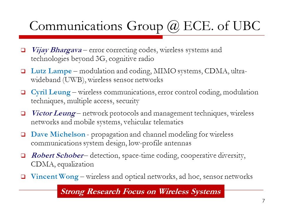 Communications Group @ ECE. of UBC
