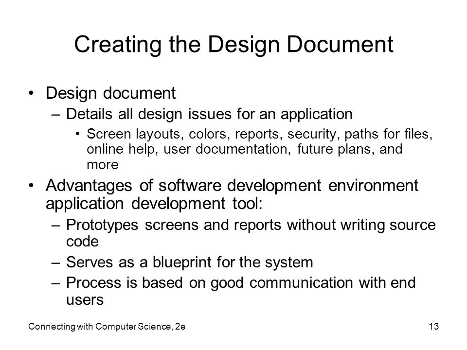Connecting With Computer Science E Ppt Video Online Download - Creating a design document