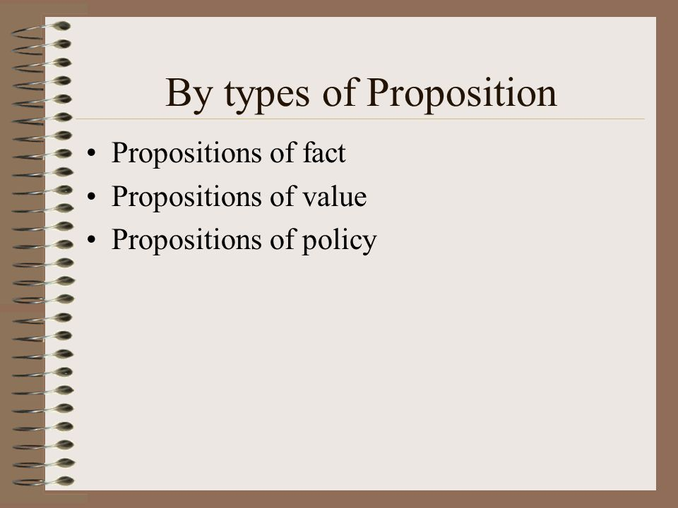 By types of Proposition