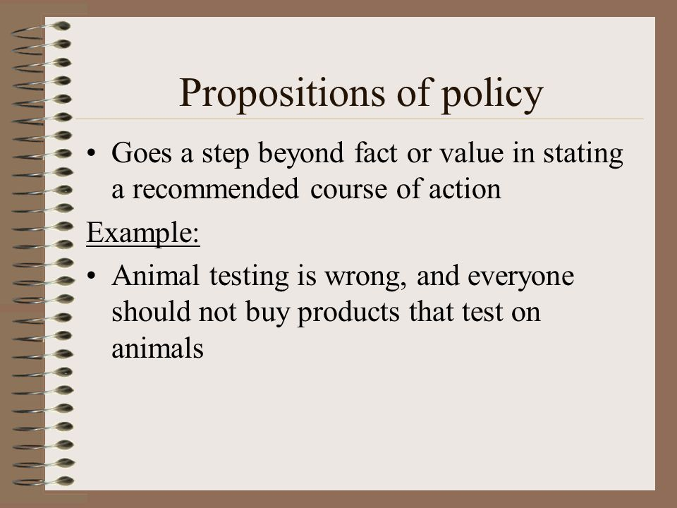 Propositions of policy