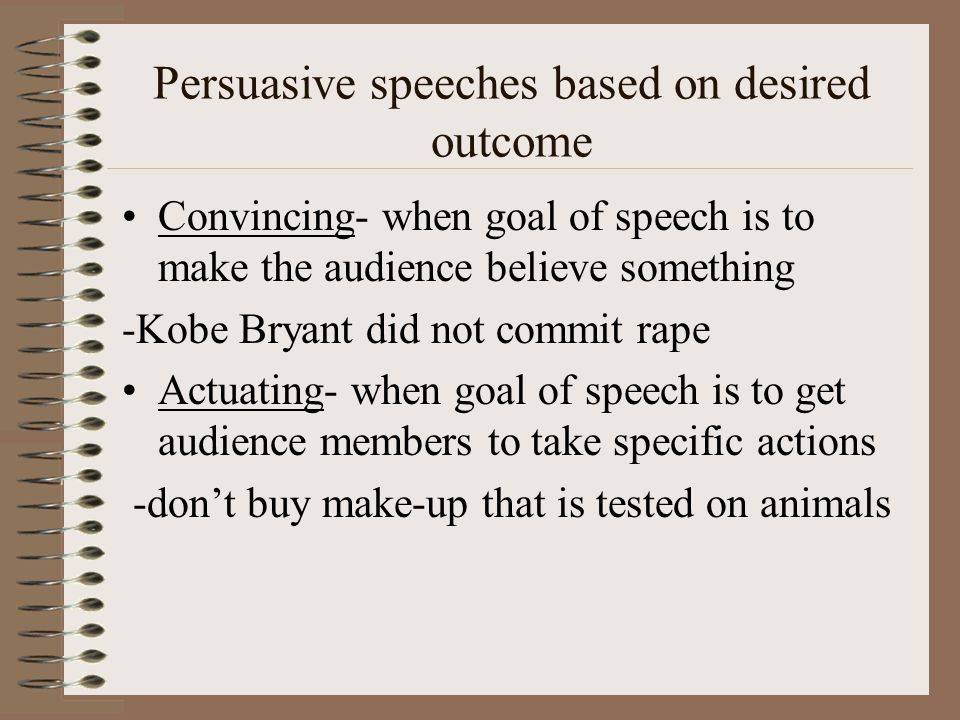 Persuasive speeches based on desired outcome