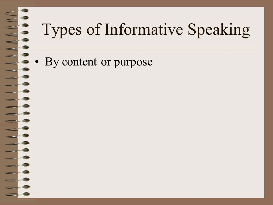 Types of Informative Speaking