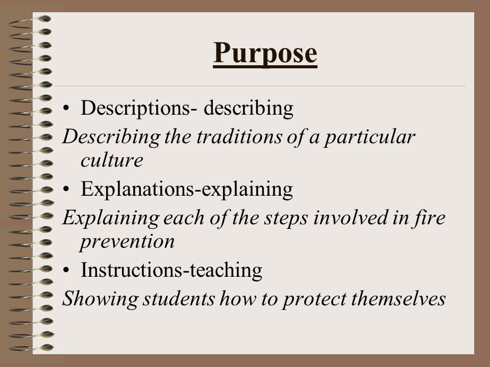Purpose Descriptions- describing