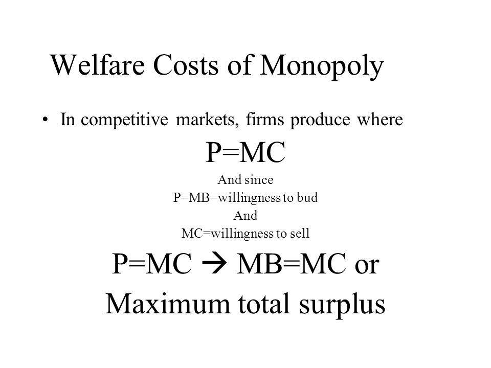 Welfare Costs of Monopoly
