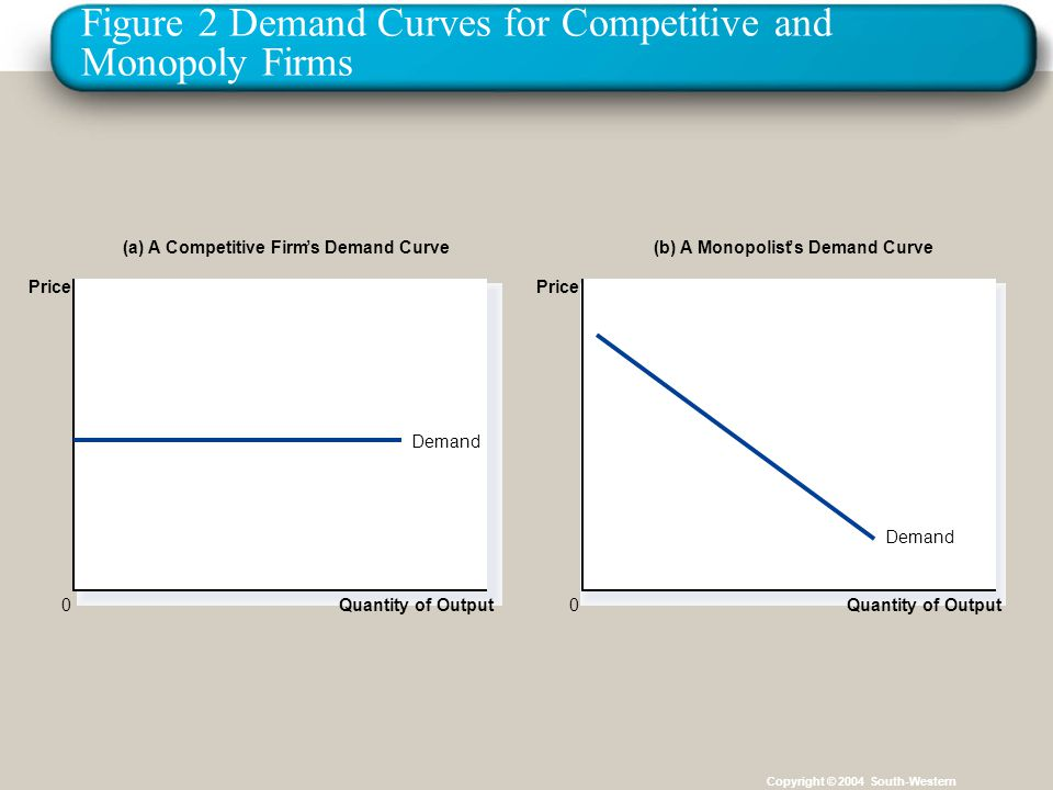 Figure 2 Demand Curves for Competitive and Monopoly Firms