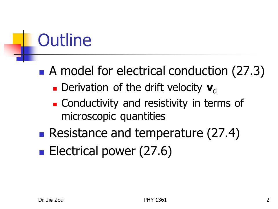 Outline A model for electrical conduction (27.3)