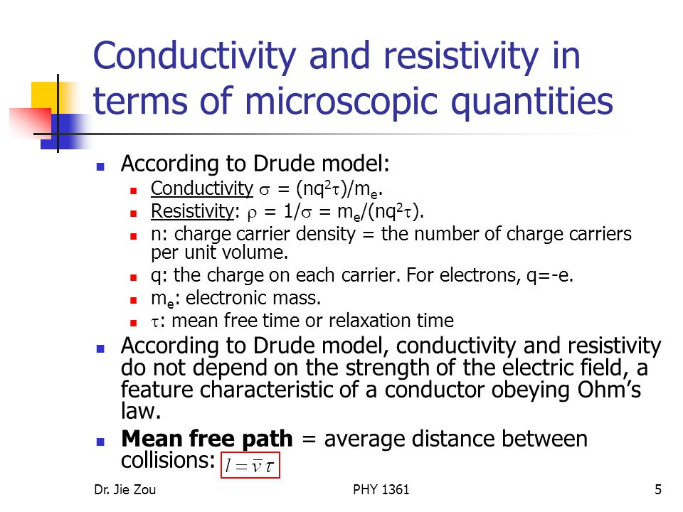 Conductivity and resistivity in terms of microscopic quantities