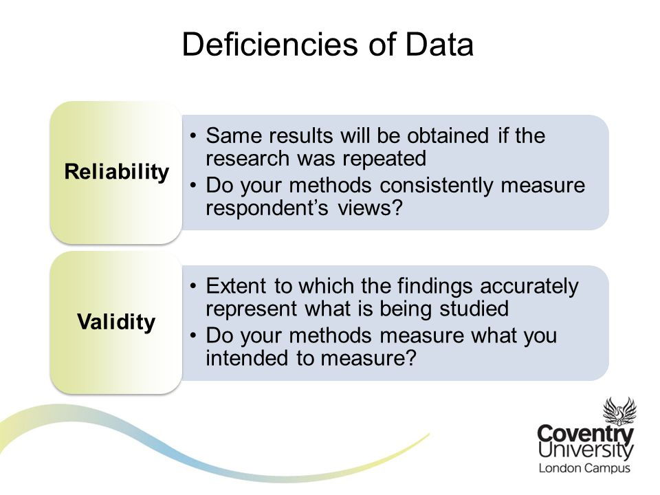 Deficiencies of Data Reliability. Same results will be obtained if the research was repeated.