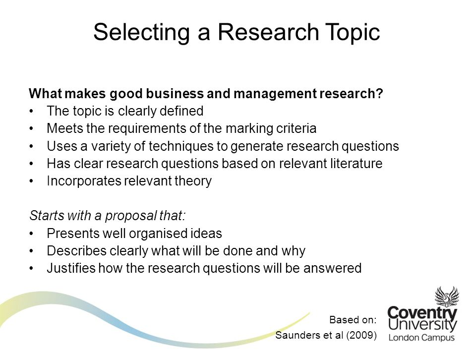 Selecting a Research Topic