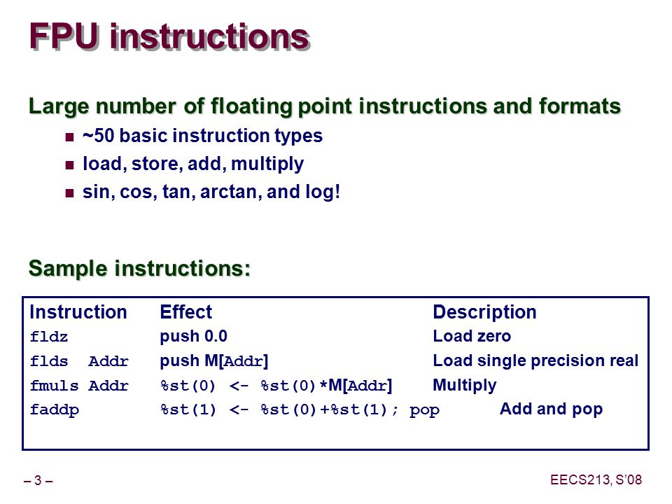 1. Fraction of the floating point instructions for the main.