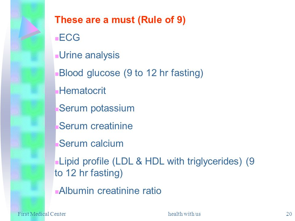 These are a must (Rule of 9) ECG Urine analysis