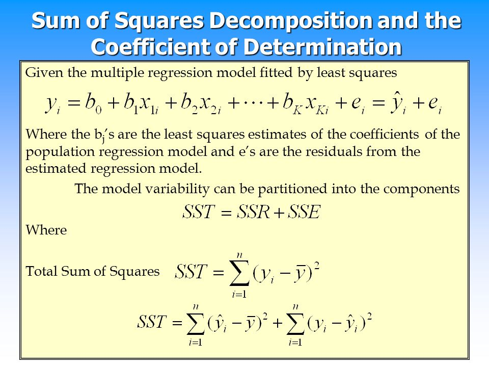 Sum of Squares Decomposition and the Coefficient of Determination