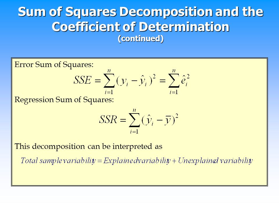 Sum of Squares Decomposition and the Coefficient of Determination (continued)