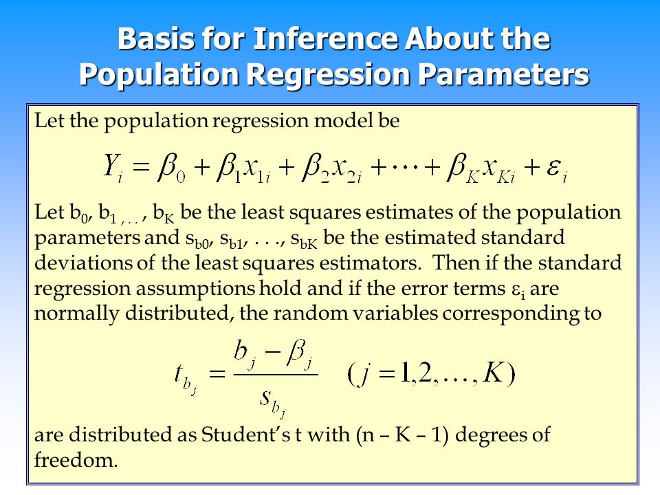 Basis for Inference About the Population Regression Parameters