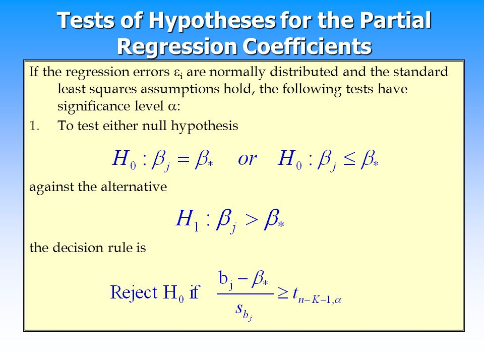Tests of Hypotheses for the Partial Regression Coefficients