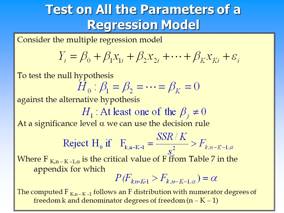 Test on All the Parameters of a Regression Model