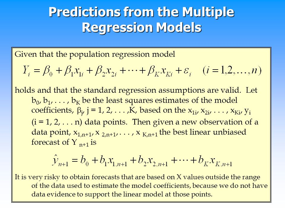 Predictions from the Multiple Regression Models