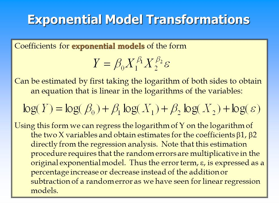 Exponential Model Transformations
