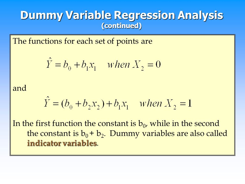 Dummy Variable Regression Analysis (continued)