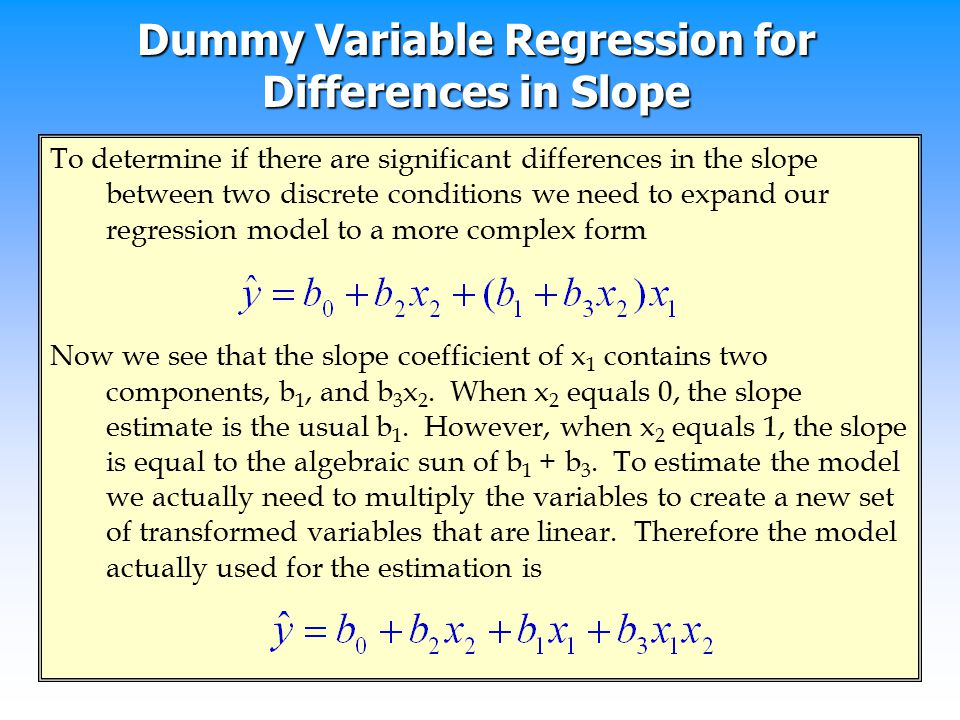 Dummy Variable Regression for Differences in Slope