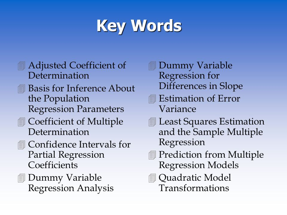 Key Words Adjusted Coefficient of Determination