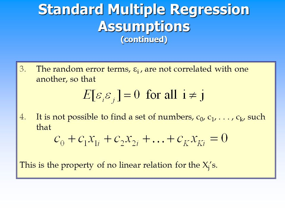 Standard Multiple Regression Assumptions (continued)