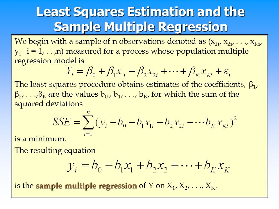 Least Squares Estimation and the Sample Multiple Regression