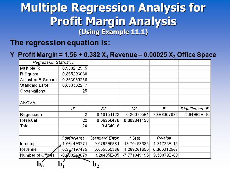 Multiple Regression Analysis for Profit Margin Analysis (Using Example 11.1)
