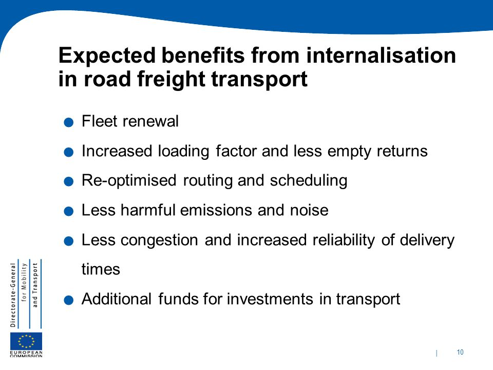 Expected benefits from internalisation in road freight transport