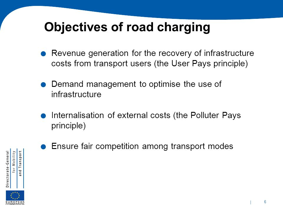 Objectives of road charging