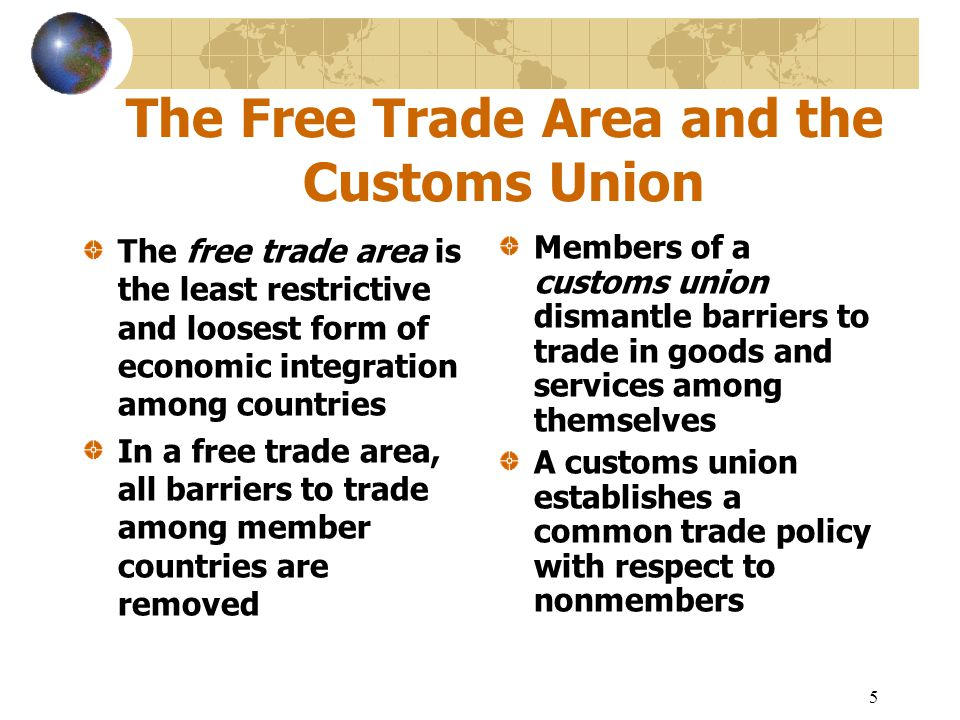 difference between free trade area and customs union