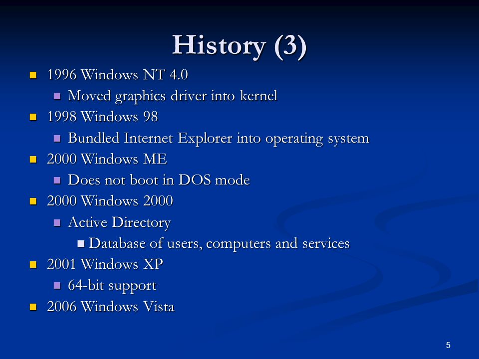History 3 1996 Windows NT 40 Moved Graphics Driver Into Kernel