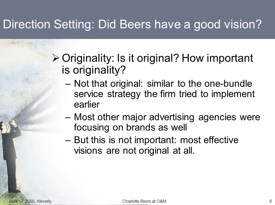 """recommendations for charlotte beers at ogilvy Charlotte beers at ogilvy & mather worldwide essay sample ogilvy & mather first rose to prominence in 1950 with its eye-patched """"hathaway man,"""" an advertising tool for dress shirts that ran for the next 25 years."""