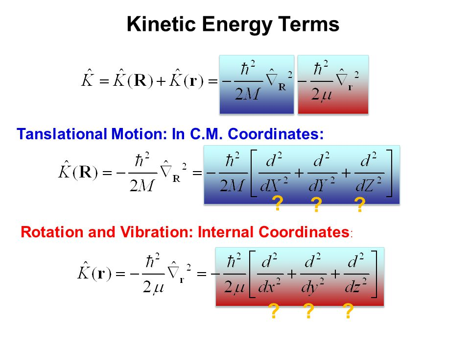 Kinetic Energy Terms Tanslational Motion: In C.M. Coordinates: Rotation and Vibration: Internal Coordinates: