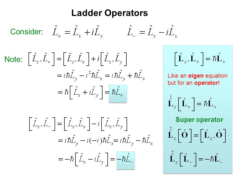 Ladder Operators Consider: Note: Super operator