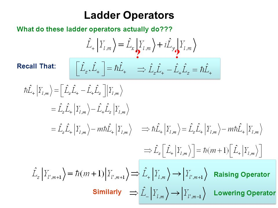 Ladder Operators What do these ladder operators actually do