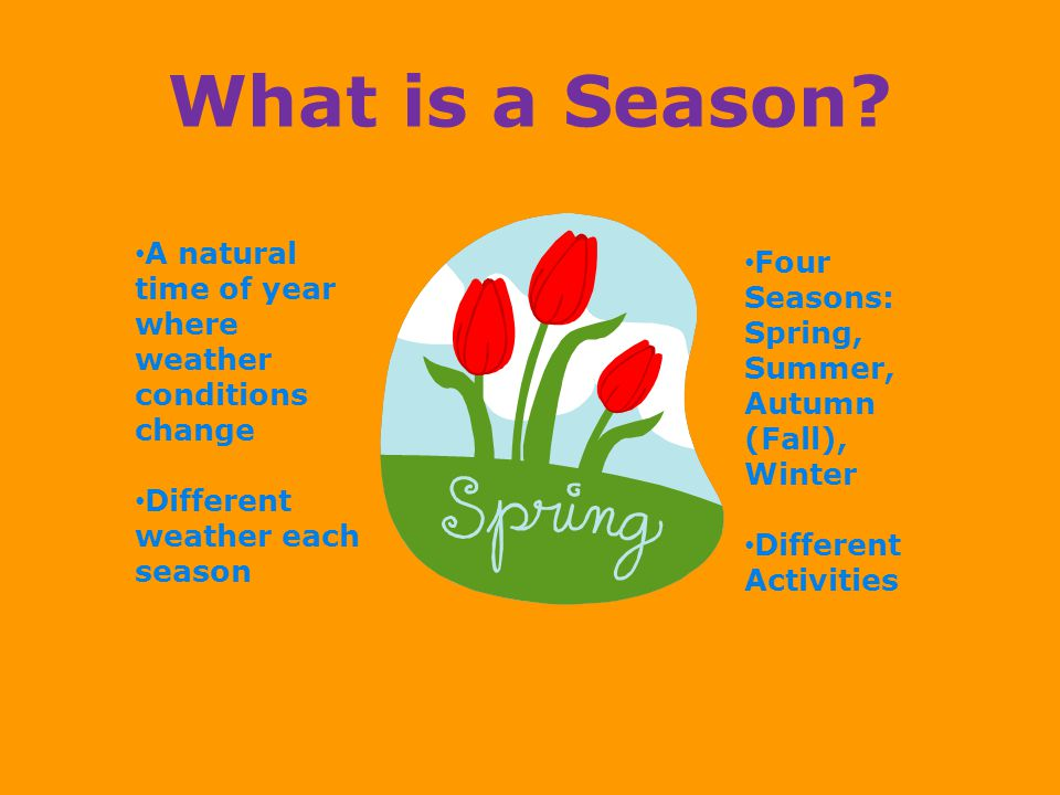 What is a Season A natural time of year where weather conditions change. Different weather each season.