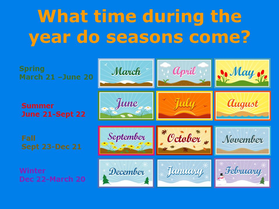 What time during the year do seasons come