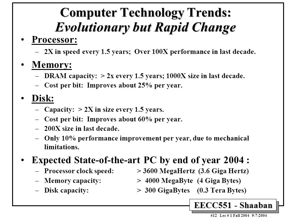Computer Technology Trends: Evolutionary but Rapid Change