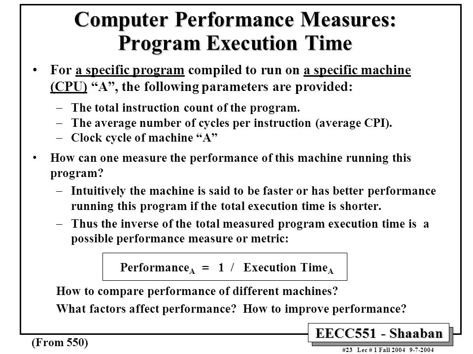 Computer Performance Measures: Program Execution Time