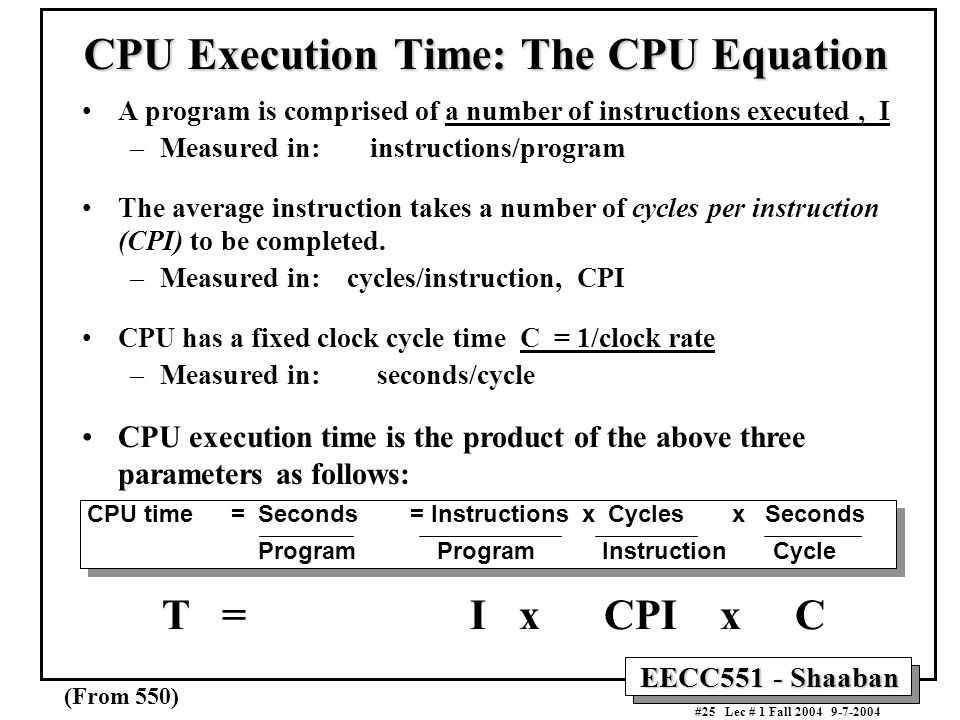 CPU Execution Time: The CPU Equation