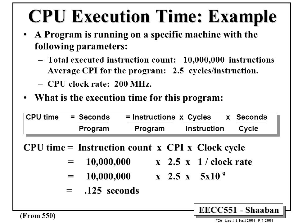 CPU Execution Time: Example