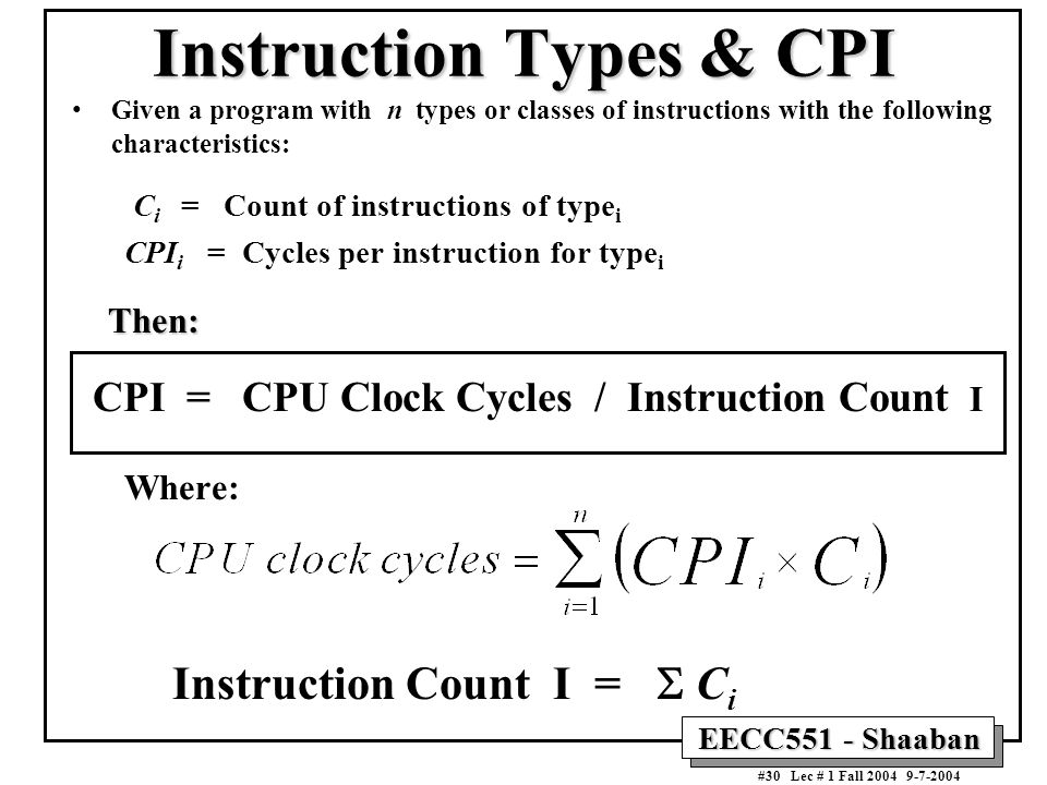 Instruction Types & CPI