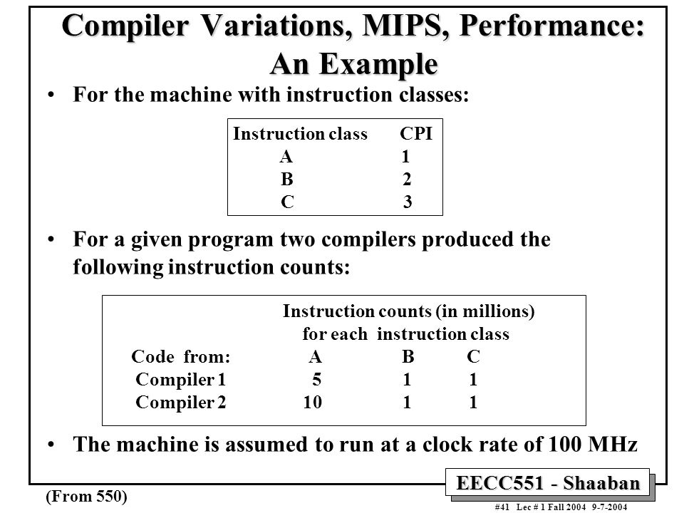 Compiler Variations, MIPS, Performance: An Example