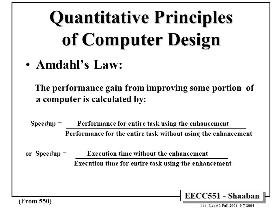 Quantitative Principles of Computer Design