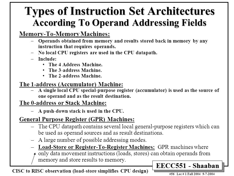 Types of Instruction Set Architectures According To Operand Addressing Fields