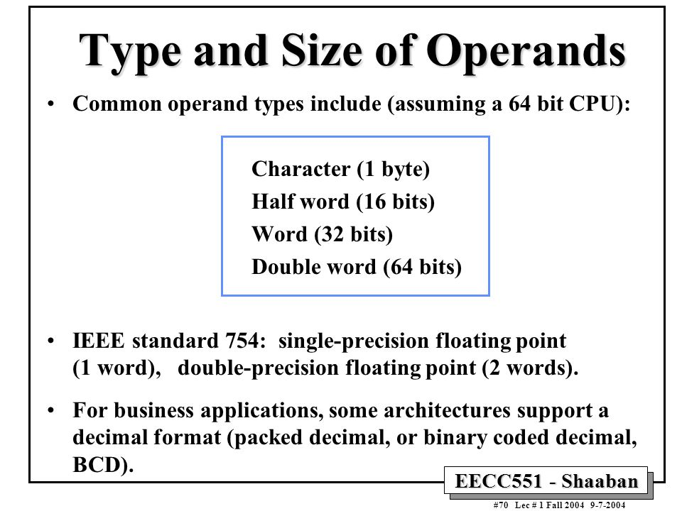 Type and Size of Operands