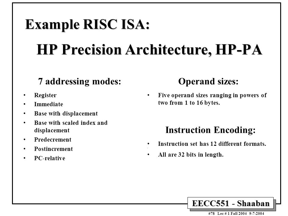 Example RISC ISA: HP Precision Architecture, HP-PA