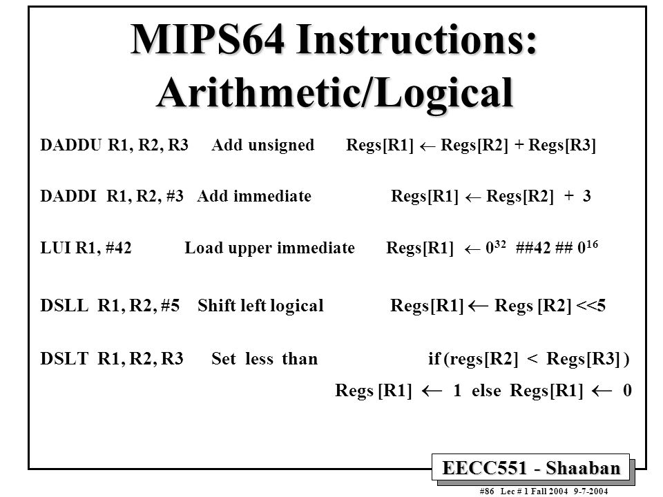 MIPS64 Instructions: Arithmetic/Logical